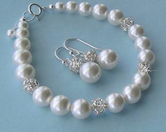 Pearl Bracelet and Earrings Set, Fireball Crystal Rhinestone and Pearl Bridal Jewelry in White or Ivory, Earrings & Bracelet Wedding Jewelry