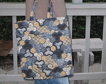 Quilted Handy Tote Japanese Asian Hexagon Design