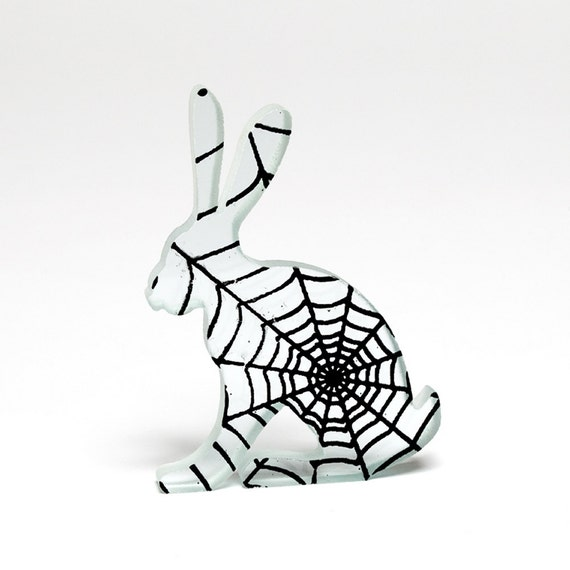 Spider Web Hare Glass Sculpture Screen Printed Enamel