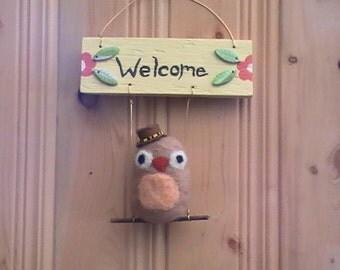Owl Welcome Sign ~ Wool Felted Owl ~ Owl Door Wreath ~ Owl Home Decor ~ Wedding Gift