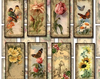Lovely Shabby Chic 1x2 inch vintage DIGITAL CoLLaGE SHeeT Domino Size images scrapbooking supplies- NeW LoWER PRiCE