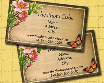 Primitive BuSiNeSS CaRDS -Customized/Personalized- Tattered Rose -Printable CoLLaGe SHEET JPG Digital Download File