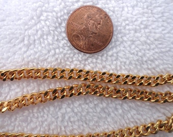 4 Pieces of Vintage Flat Curb Chain, 24 Inch, 5mm Filed Links, Brass