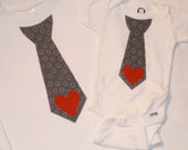 LAST ONE - Boys Valentines Day Gray Tie Shirt or Onesie - with Red Heart - size 0-3 3-6 6-12 12-18 2 4 6