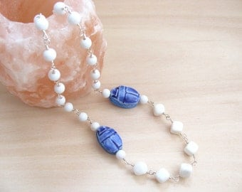 Statement necklace Scarab necklace Beetle necklace  White necklace