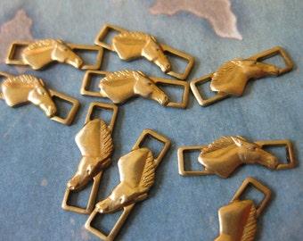 6 PC Raw Brass Stallion / Horse head Link Finding 5mm x 15mm - S0393