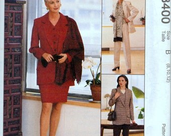 Sewing Pattern McCall's 8400 Jacket and Skirt Pants Size 8-10-12 Bust 31.5-34 Inches Uncut Complete