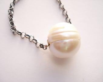Fresh Water Pearl Necklace, White Pearl, Sterling Silver Chain