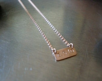 14kt Solid Rose Gold Vintage Inspired Personalized Name Plate Necklace