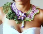 Bearded Iris Flower, crochet, statement necklace custom order for birthasophia