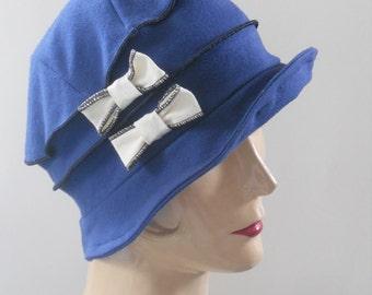 Flapper Jersey Cloche - Organic Fabric - Indigo Blue and Cream Bows -  Emma Rose