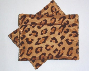 Jewelry Bead Pouches - 6 Leopard Cheetah Glitter Flocked - 4 inches x 4 1/2 inches