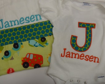 Applique Onesie and burp cloth Baby Gift set - as shown or you pick your fabrics with Name Personalized