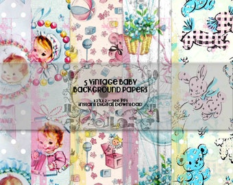 Five 12 x 12 Vintage Shabby Baby Paper Backgrounds Digital Scrapbooking - Instant Download - Digital Printable Scrapbook Papers