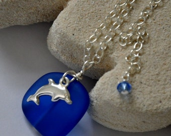 Cobalt Blue Sea Glass Necklace, Dolphin & Sea Glass Jewelry, Sterling Silver Necklace- Adjustable, 925 Sterling Silver