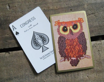 Vintage Owl Playing Card Deck - Brown - Full Deck