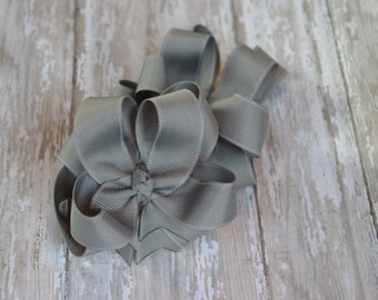 """Girls Hair Bows Gray Boutique 3"""" Double Layer Hairbows Set of 2 Pigtail Bows Gray Pigtail Bows"""
