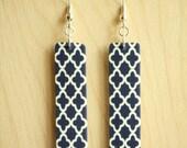 Navy Quatre foil Earrings - Acrylic Earrings -Navy and White Print Rectangle Acrylic Drop Earrings