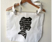 "Jane Eyre Quote "" I am no bird..."" Tote Bag, Grocery Tote, Book Bag, Library Bag MADE TO ORDER"