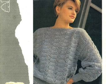 Vintage Ladies Slash Neck Sloppy Sweater, Knitting Pattern, 1960/1970 (PDF) Pattern, Patons 7641