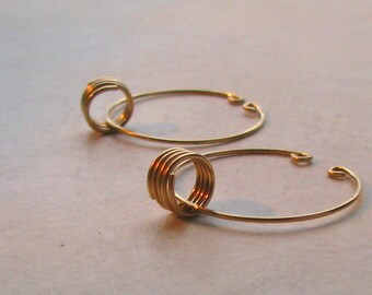 Unpierced hoop earrings gold filled unpierced alternative slip on spring dangle