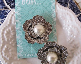 Clearance  34mm Metal Button with Crystals and Pearls for Bridal Bouquet, Hair Flowers, Weddings, Headbands