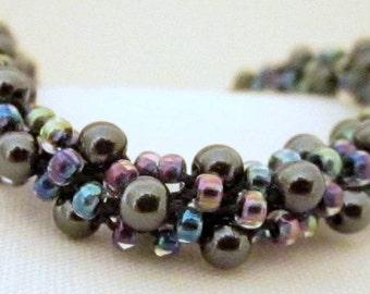 Hematite and Seed Bead Kumihimo Bracelet