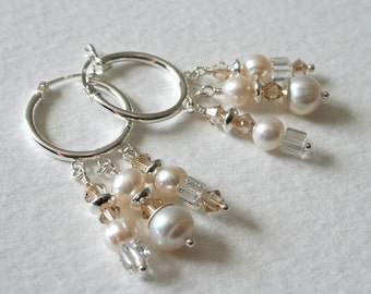 Sterling Silver Earrings Pearl Crystal Chandelier Charm Earrings