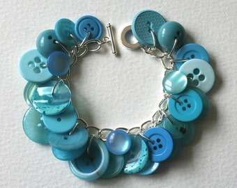 Button Charm Bracelet Clear Aqua Sea