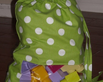 Lime dot peek a boo toy sack