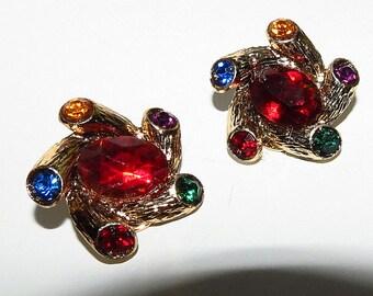 Multi Colored Rhinestone Earrings, Ladies Colorful Golden Earrings, Vintage Clip on Ladies Earring