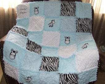 """Zebra Rag Quilt Pink or Blue Girl or Boy 42"""" x 50 Lg. Crib or Toddler Bed Lg Throw Made To Order"""