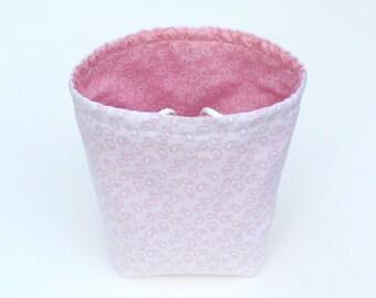 Reversible Drawstring Knitting bag or small project bag Kip bag pink and white paisley