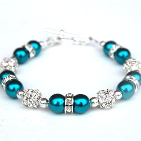 Teal Jewelry, Teal Pearl Rhinestone Bracelet, Teal Wedding, Beach Wedding, Bridesmaid Jewelry, Bridesmaid Gifts, Summer Wedding