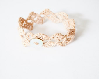 Crochet Linen Lace Button Bangle Bracelet - Pastel Pink Naturally Dyed Linen With Shell Button - Rustic Romantic