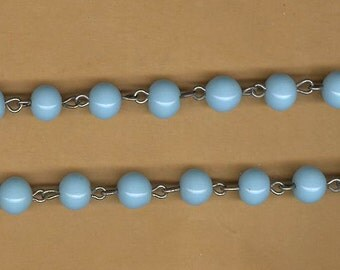 vintage rosary beads glass chain pastel turquoise glass 8mm, japan glass antique rosary chain