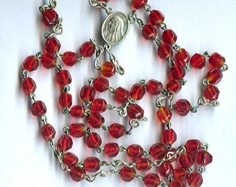 vintage glass rosary beads, made in japan, nice patina, never used - red color english cut