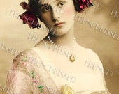 Instant Download Jane Austen style VICTORIAN Antebellum lady Hair RIBBONS Antique French postcard DIGITAL scan