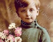 Edwardian Blonde Boy in Blue Green Turtleneck Antique French Postcard Digital Download