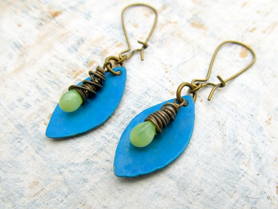 Blue Green Boho earrings hammered Artisan distressed aged metal Patina jewelry wire wrap Bohemian jewelry