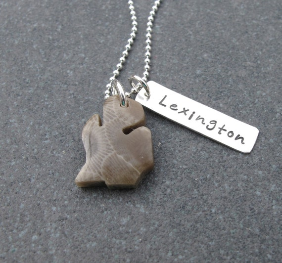 Michigan shaped petoskey stone charm with custom city tag by kristen s