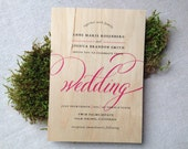 Calligraphy Real Wooden Wedding Invitations