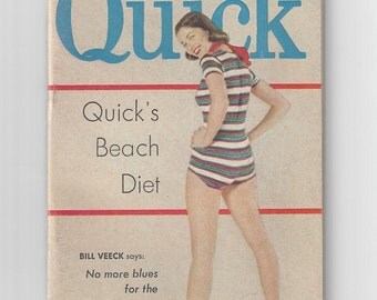 1950s Quick Magazine News Weekly Womens Fashion Quick's Beach Diet April 21, 1952