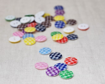 99pcs 13mm Resin Gingham Buttons