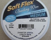 30' Soft Flex clear steel beading medium jewelry wire 49 strand .019 inch