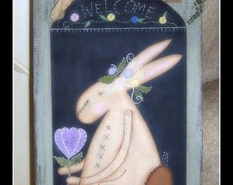 Primitive Spring Easter Bunny Wood Cutting Board Home Decor Housewares Wall Art Handpainted Decoration