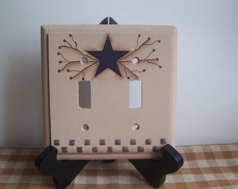 Primitive Light Switch Wood Star Switchplate Home Decor Lighting Wall Art