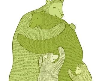 Bear Hug Green - small print