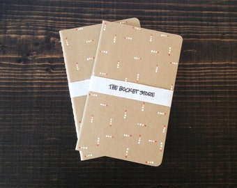 Set of 2 : Small Canvas Hand-painted Notebooks