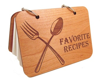 Wooden Recipe Book Favorites - Real Wood Covers